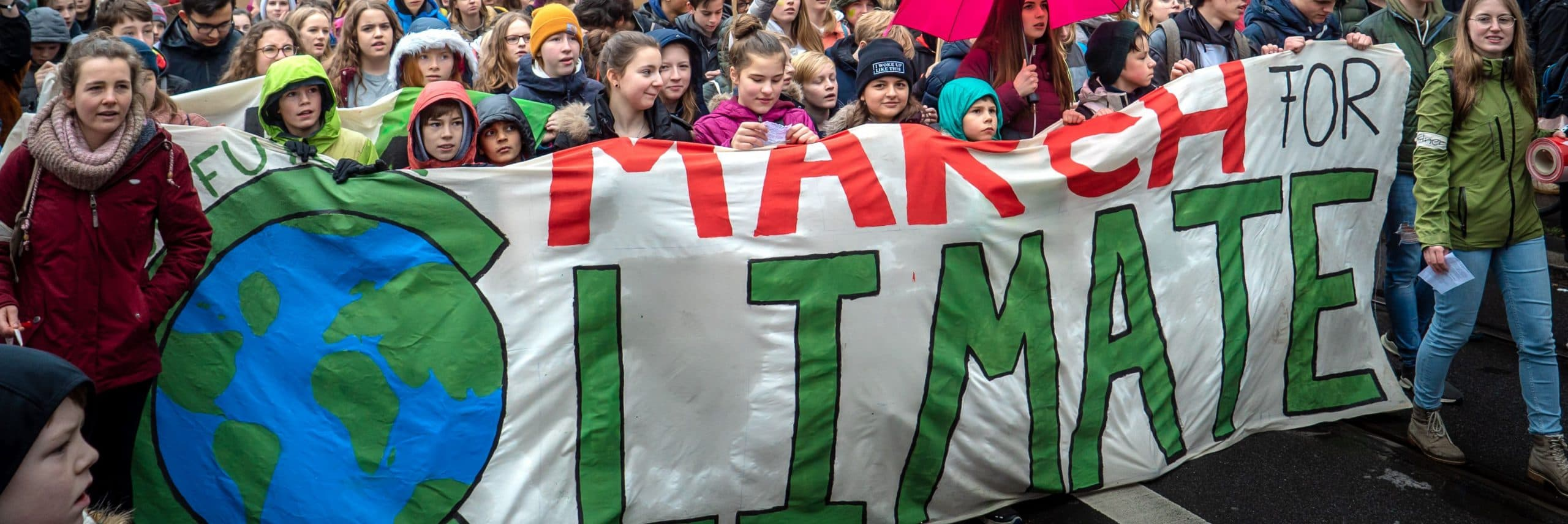 Climate activists on a march